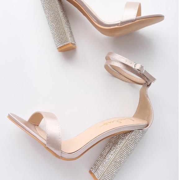 Lulu S Champagne Satin Rhinestone Block Heels